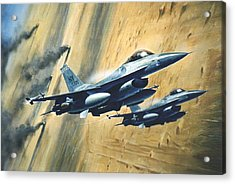 'f16 Desert Storm' Acrylic Print by Colin Parker