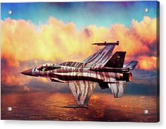 Acrylic Print featuring the photograph F16c Fighting Falcon by Chris Lord