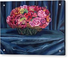 Fabric And Flowers Acrylic Print by Sharon E Allen
