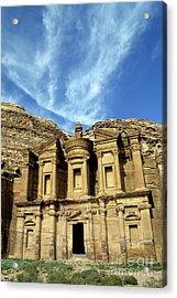 Facade Of Ad Deir An Ancient Rock-cut Monastery In Petra Acrylic Print by Sami Sarkis