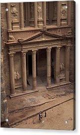 Facade Of The Treasury In Petra, Jordan Acrylic Print by Richard Nowitz