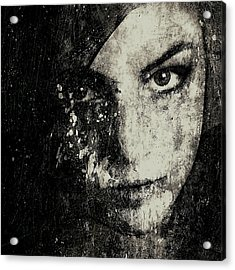 Face In A Dream Grayscale Acrylic Print by Marian Voicu