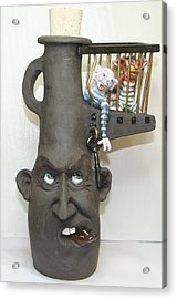 Face Jug Unlock Your Inner Demons Acrylic Print by Lauren  Marems