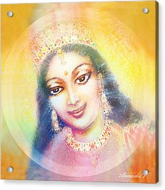 Face Of The Goddess - Lalitha Devi - Rainbow Colors Acrylic Print by Ananda Vdovic