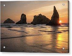 Face Rock Sunset Acrylic Print