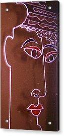 Faces And Alphabets Acrylic Print by Sylvia Hanna Dahdal