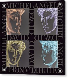 Faces Of David In Negative Acrylic Print by Barbara Lugge