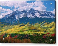 Facinating American Landscape Flowers Greens Snow Mountain Clouded Blue Sky  Acrylic Print