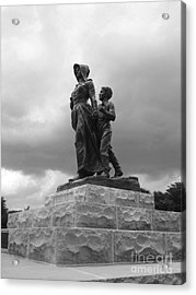 Facing The Storm Pioneer Woman Statue Oklahoma Icon   Acrylic Print by Ann Powell