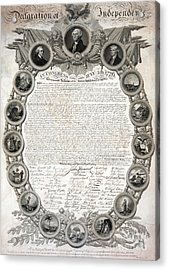 Facsimile Of The Original Draft Of The Declaration Of Independence 1776 Acrylic Print by American School