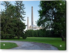 Factory Next To A Park With Smoke Stacks In Sheboygan Wisconsin Acrylic Print