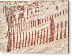 Faded Red Beach Fence  Acrylic Print