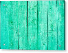 Acrylic Print featuring the photograph Fading Aqua Paint On Wood by John Williams