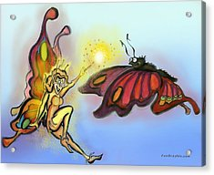 Acrylic Print featuring the painting Faerie N Butterfly by Kevin Middleton