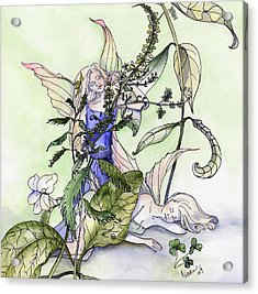 Faeries In The Garden Acrylic Print by Nadine Dennis