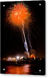 Fireworks As Seen From The Ventura California Pier Acrylic Print