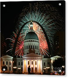Fair St Louis Fireworks Acrylic Print by William Shermer