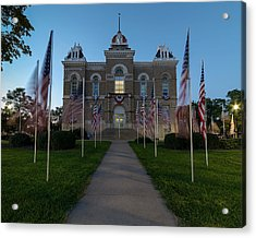 Fairbury Nebraska Avenue Of Flags - September 11 2016 Acrylic Print