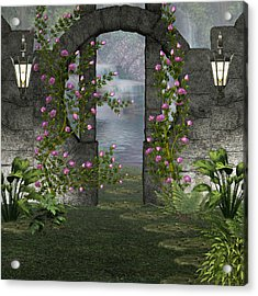 Acrylic Print featuring the digital art Fairies Door by Digital Art Cafe