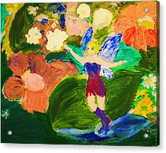 Acrylic Print featuring the painting Fairies In The Garden by Evelina Popilian