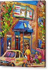 Fairmount Bagel Fairmount Street Montreal Acrylic Print by Carole Spandau