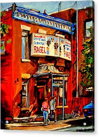 Fairmount Bagel Montreal Acrylic Print by Carole Spandau