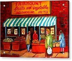 Fairmount Fruit And Vegetables Acrylic Print by Carole Spandau