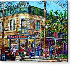 Fairmount Grill Plateau Mont Royal Summer Street Scene Montreal Painting Canadian Art Carole Spandau Acrylic Print