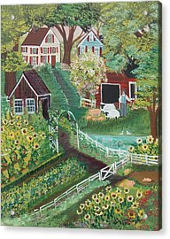 Acrylic Print featuring the painting Fairview Farm by Virginia Coyle