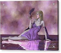 Fairy And Tiny Dragon Acrylic Print by Corey Ford