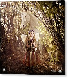 Fairy And Unicorn Acrylic Print