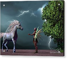 Fairy And Unicorn Acrylic Print by Corey Ford