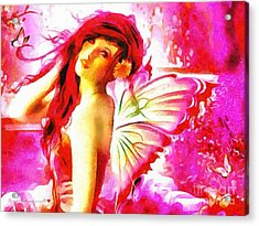 Fairy Angel In The Mix In Thick Paint Acrylic Print