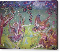 Acrylic Print featuring the painting Fairy Ballet by Judith Desrosiers