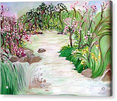 Acrylic Print featuring the painting Fairy Blossom Falls by Sherri  Of Palm Springs
