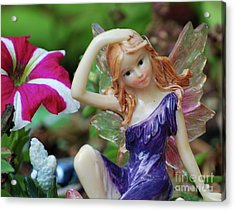 Acrylic Print featuring the photograph Fairy In Flowerbed by Lila Fisher-Wenzel