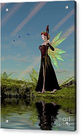 Fairy Lillith By Pond Acrylic Print by Corey Ford