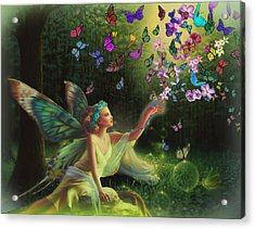 Fairy Of The Butterflies Acrylic Print by Edelberto Cabrera
