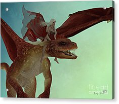 Fairy Rides Dragon Acrylic Print by Corey Ford