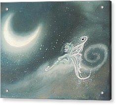 Fairy Sitting Watching Moon Acrylic Print