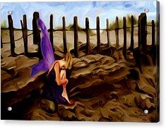 Fairy Sleeping On The Dunes Acrylic Print by Shelley Bain