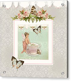 Fairy Teacups - Flutterbye Butterflies And English Rose Damask Acrylic Print by Audrey Jeanne Roberts
