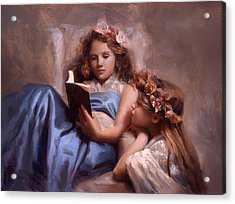 Acrylic Print featuring the painting Fairytales And Lace - Portrait Of Girls Reading A Book by Karen Whitworth