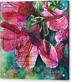 Faith - Pink Azalea Acrylic Print by Trish McKinney