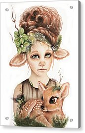 Acrylic Print featuring the drawing Faline - Only Friend In The World Collection by Sheena Pike
