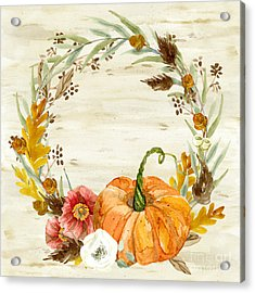 Fall Autumn Harvest Wreath On Birch Bark Watercolor Acrylic Print