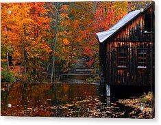 Fall Barn And River N Leverett Ma Acrylic Print by Richard Danek