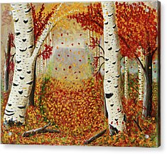 Fall Birch Trees Acrylic Print by Susan Schmitz