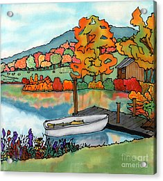 Fall Boat And Dock Acrylic Print by Linda Marcille