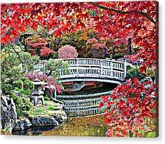 Fall Bridge In Manito Park Acrylic Print by Carol Groenen
